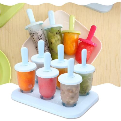 6 Push Up Ice Cream Popsicle Maker Molds Наборы DIY Круглая форма Замороженные ледяные льда Lolly Holder Tray Cool Summer Storage Box Закуски Контейнеры