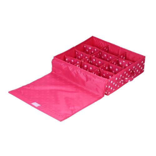 12-Сравнение Водонепроницаемая ткань Оксфорда Складное нижнее белье Ящик для хранения Кейс Кейсы Носки Шкаф Ящик Организатор Контейнер с крышкой - Розовый Красный