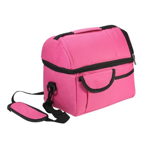 Esonmus Portable Double-Deck Leakproof изолированный кулер Lunch Bag Baby Bottle Теплоизоляционная сумка с съемным плечевым ремнем - Rose Red