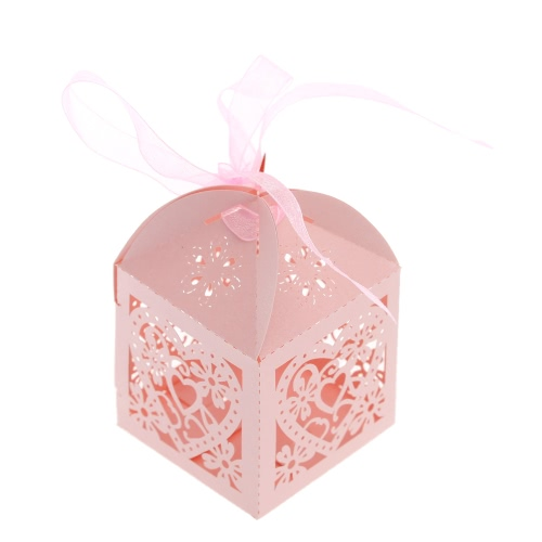 20 PCS Laser Cut Delicate Carved Heart and Flower Adorable Candy Boxes with Ribbon for Party Birthday Wedding Banquet Kindergarten Bridal Shower H16208P