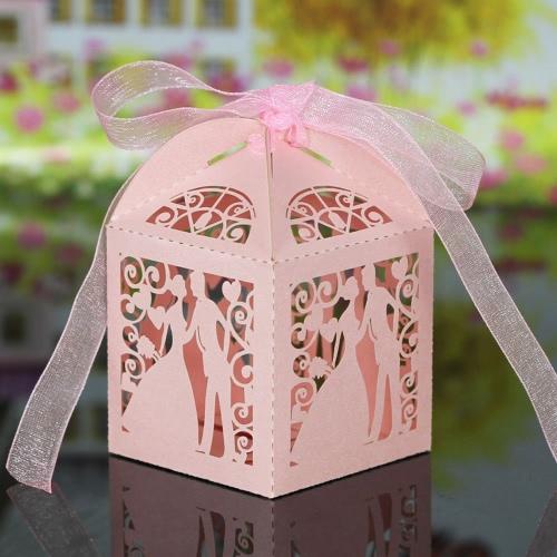 20st Schneiden Handgemachte Laser Brautigam Candy Boxen Mit Bandern