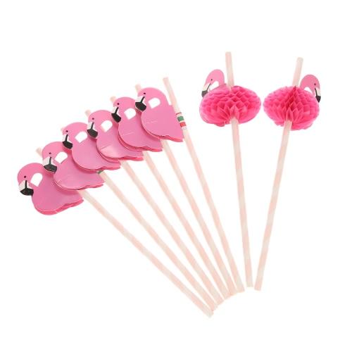 50шт / комплект Cute Food Grade бумаги соломка для рождения Свадьба Детская душа Празднование и партии многофункциональные соломка с Flamingo Оформленный