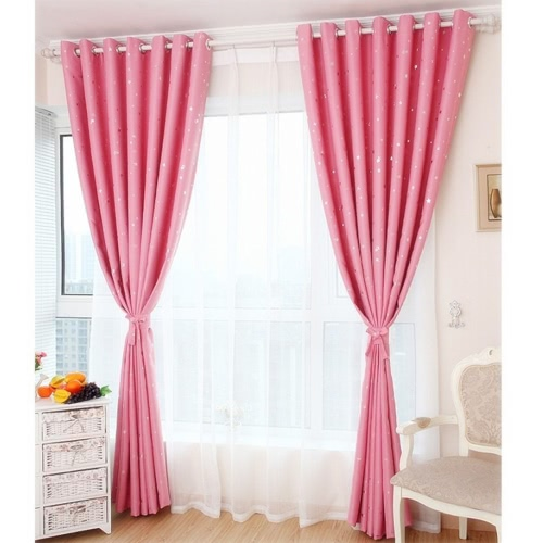 Anself 2PCS 100*250cm Modern Punching Grommet Blackout Curtain Linings Panel Bright Colored Stars Curtains Soft Window Drape Classy Decoration Draperies for Living Room Bedroom Size 39