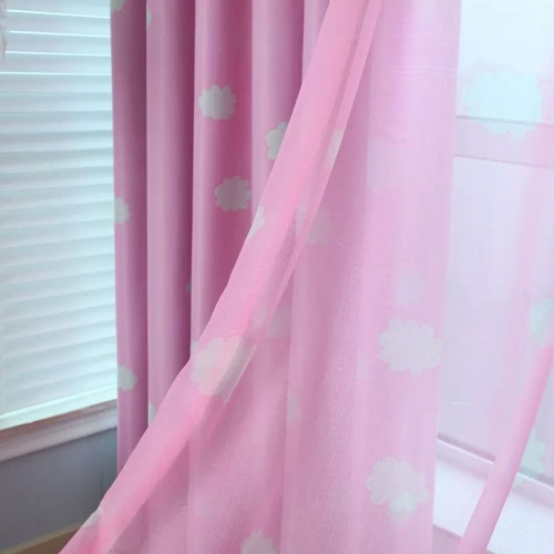 Anself 100*250cm Romantic Cloud Pattern Voile Door Window Curtains