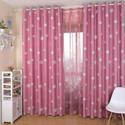 Anself 100*250cm Romantic Cloud Pattern Voile Door Window Curtains Window Screen for Living Room Wedding Banquet Decoration Size 39