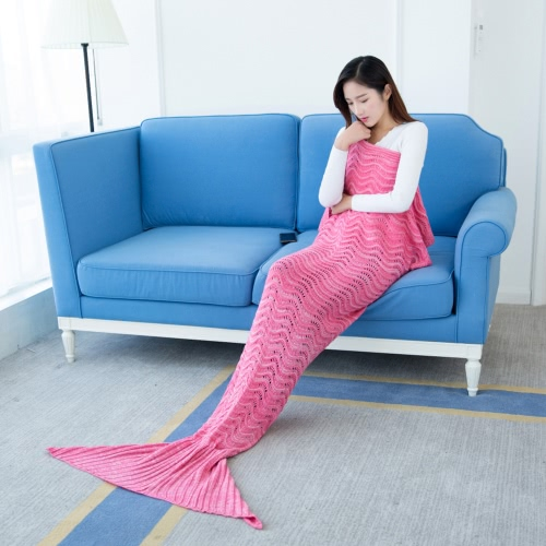 Fashion Beautiful Knitted Mermaid Tail Blanket Crochet Sleeping Bag 70.9