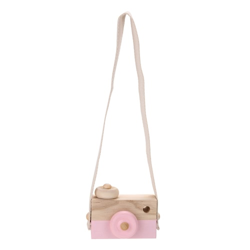 Kids Children Cute Wood Camera Toy Christmas Xmas Birthday Room Decor Natural Safe Wooden Camera Gift