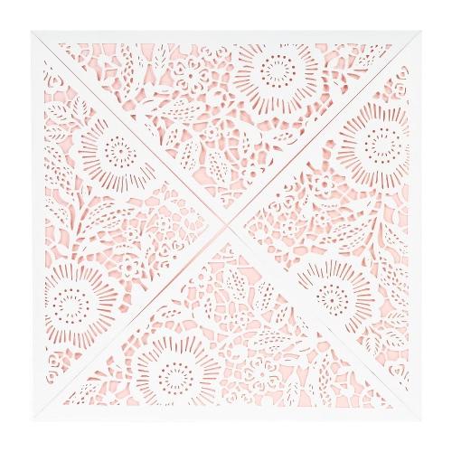 10X Laser Cut карта Romantic приглашения Набора для Свадебного душа День рождения белого конверт Hollow держатель карты Розовых внутреннего листа Нежного резного узор