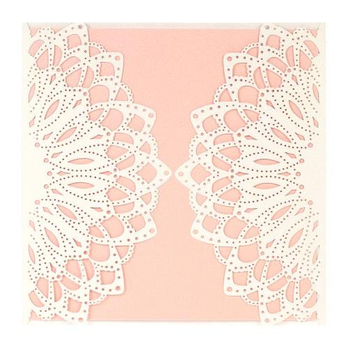 10X Laser Cut Elegant Invitation Cards Set for Wedding Bridal Shower Birthday Beige Envelope Hollow Card Holder Pink Inner Sheet Delicate Carved Flowers