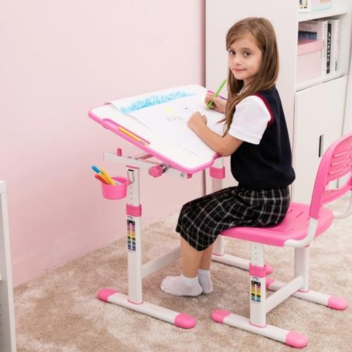 iKayaa - Mesa de estudio y sillón ajustable de altura ajustable para niños