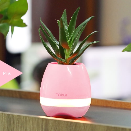 Tokqi Flowerpot Colorful LED Night Light Smart Touch Music Piano Plant Lamp Rechargeable Wireless BT BT Speaker Gift