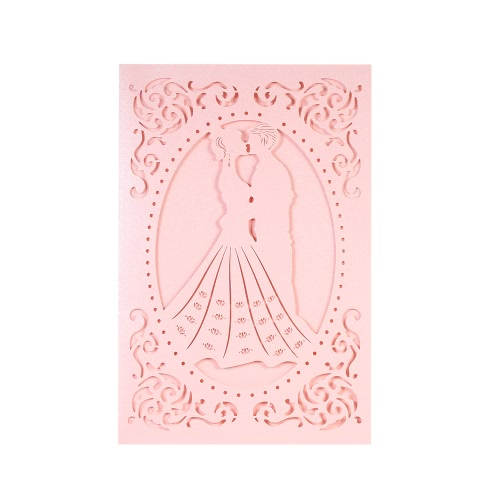 20pcs/set Wedding Invitation Card Set Pearl Paper Laser Cut Bridal Bridegroom Pattern Invitation Cards for Wedding Anniversary Pink