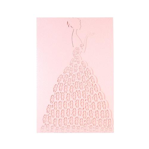 20pcs/set Wedding Invitation Card Set Pearl Paper Laser Cut Bridal Pattern Invitation Cards Pink