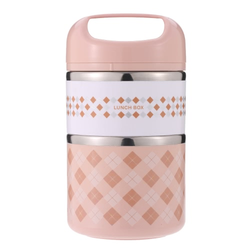 930ml 2-Layer Stainless Steel Lunch Box Practical Insulation Lunch Box Food Box with Handle Travel & To-Go Food Containers