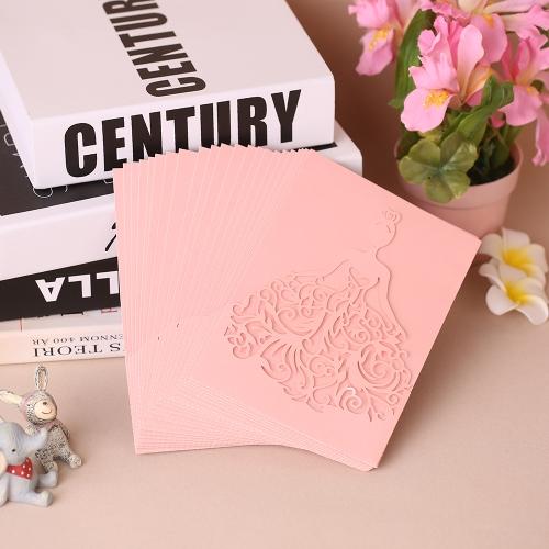 20pcs / set Свадебные пригласительные карточки Жемчужная бумага Лазерная вырезать полые шаблоны приглашения невесты для участия в юбилейной свадьбе - белый фото