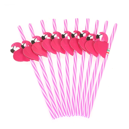 50pcs/set 3D Flamingo Decorated Reusable Plastic Straws for Birthday Wedding Baby Shower Celebration Pool Party Decorations Supplies--Pink