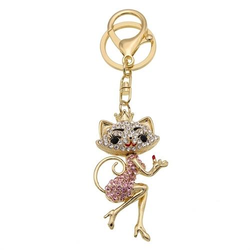 Мультфильм Cat цинковый сплав Rhinestone Key Chain Полый блестящий брелок с Clip Hook Сумочка Кошелек автомобилей Подвеска Орнамент Декор - Pink
