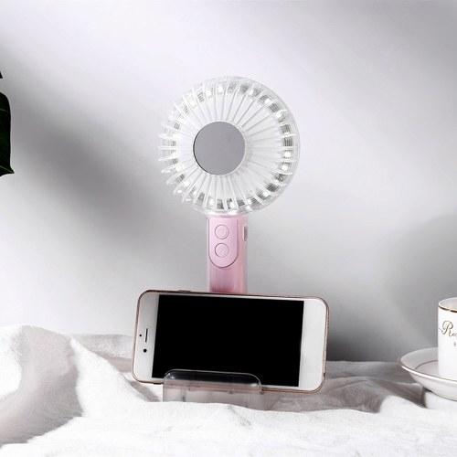 Ventilador de LED recarregável USB com suporte de telefone celular