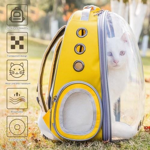 Pet Dog Прозрачный рюкзак Carrier Дорожная сумка, предназначенная для путешествий Пешие прогулки Прогулки на открытом воздухе фото