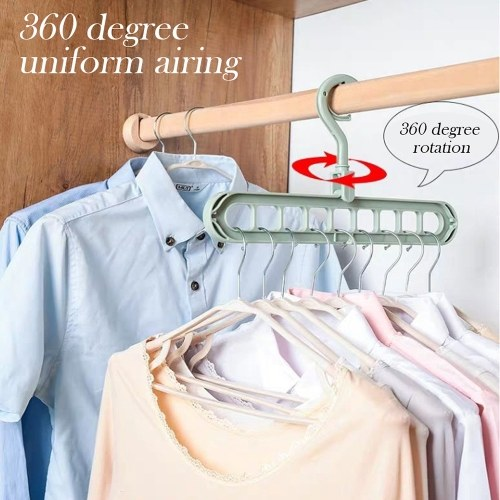 Nine Holes Rotating Hanger Magic Multi-function Folding Clothes Hanger Drying Hanger Closet Space-saving