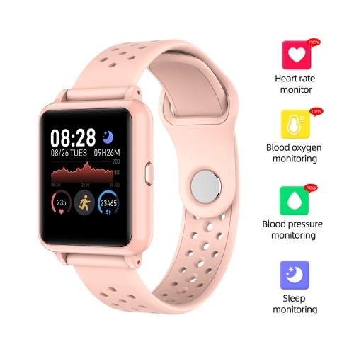 """Smart Watch Fitness Tracker Monitor de ritmo cardíaco Temperatura corporal Monitor de sueño Presión arterial Resistente al agua 1.3 """"Pantalla táctil en color Seguimiento de actividad Podómetro para mujeres Hombres Niños"""