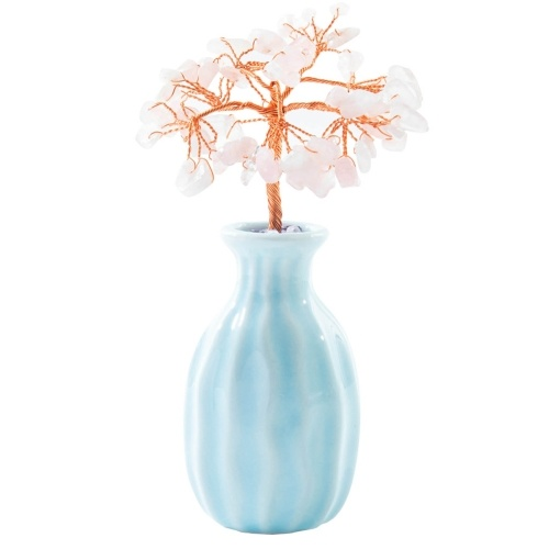 Ceramic Vase Copper Wire Crystal Natural Gemstone Money Tree Life Decoration Healing Energy Good Luck