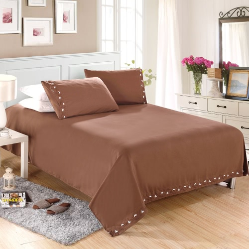 1800 Series Lux Decor Collection Solid Embroider Cording Bedding Set Deep Pocket Fitted Sheet Bed Cover Pillow Cases Bedclothes Home Textiles, TOMTOP  - buy with discount