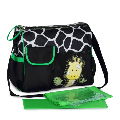 Large Capacity Cartoon Baby Diaper Nappy Mummy Shoulder Bag with Changing Pad Liner Wet Clothes Container Double Zippers