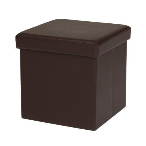 iKayaa - Boîte de rangement rabattable – Pouf en cuir PU marron