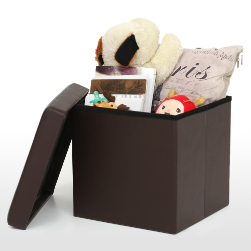 iKayaa Faux Leather Folding Storage Ottoman Footstool