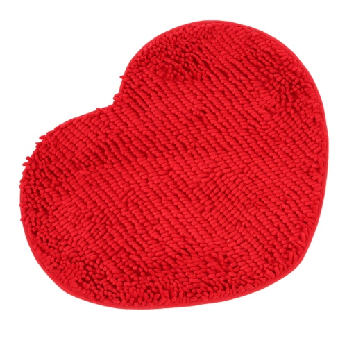 50*60cm Super Soft Chenille Yarn Heart Shape Footcloth Highly Absorbent Carpet Non-skid Door Mat Ground Mat Floor Mat for Indoor Entranceway