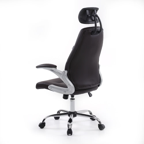 iKayaa Faux Leather Pneumatic Adjustable Office Executive Chair Stool High Back Ergonomic Swivel Computer Task Office Furniture