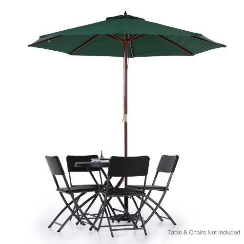 iKayaa 2.7M Wooden Patio Garden Umbrella Sun Shade Outdoor Cafe Beach Parasol Canopy 8 Ribs 38MM Pole W/ Air Vent 180g Polyester