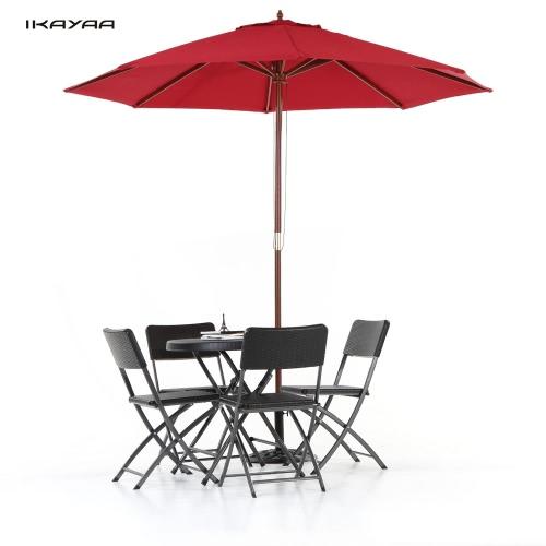 iKayaa 2,7 drewniane rolety Patio ogrodowe, parasol słoneczny odkryty Cafe Beach Parasol Markiza 8 Żeberka 38MM Polak W / Air Vent Poliester 180g
