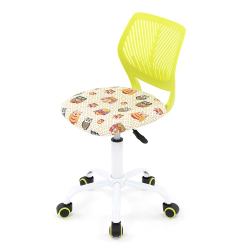 iKayaa Fashion Adjustable Fabric Teen Child Desk Chair Swivel Office Computer Task Chair Stool for Kids