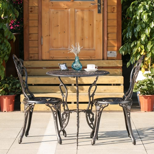 Brown Ikayaa Patio Outdoor Bistro 3pcs Iron Aluminum Cafe