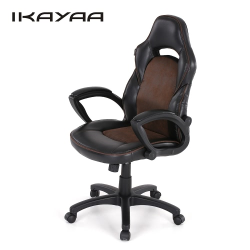 iKayaa Fashion PU Leather Racing Style Executive Office Chair Adjustable 360°Swivel High Back Computer Task Desk Chair W/ Bucket Seat Tilt Lock