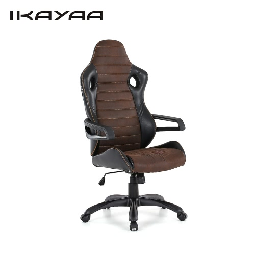 iKayaa Cool Adjustable Racing Style Executive Office Chair PU Leather Swivel Computer Task Chair High Back 120KG Load Capacity W/ Bucket Seat Tilt Lock