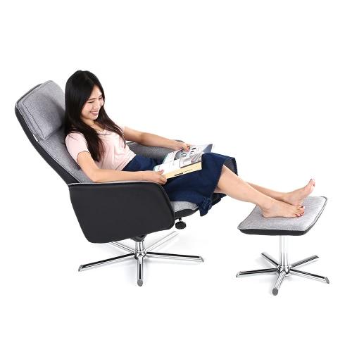 iKayaa Nowoczesne Wysokiej jakości PU Leather + Glider Tkaniny i Ottoman Set Plandeka 360 ° obrotowy fotela Krzesła do salonu sypialni Garden Baclony