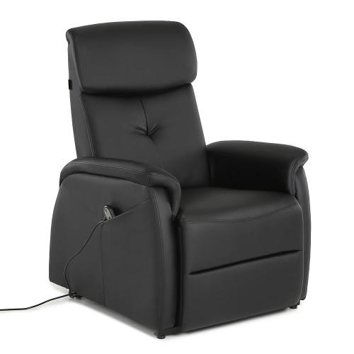 IKayaa Modern Komfortable Power Lift Recliner Gepolstert Hochwertige Bounded Leder Lift Stuhl Single Sofa mit Controller für alte Menschen Wohnzimmer Schlafzimmer