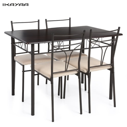 iKayaa 5PCS Modern Metal Frame Dining Kitchen Table Chairs Set for 4 Person Kitchen Furniture 120kg Load Capacity