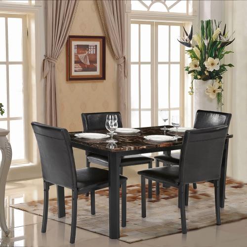 iKayaa 5PCS Cucina moderna sala da pranzo Tavolo sedia Set per 4 ...
