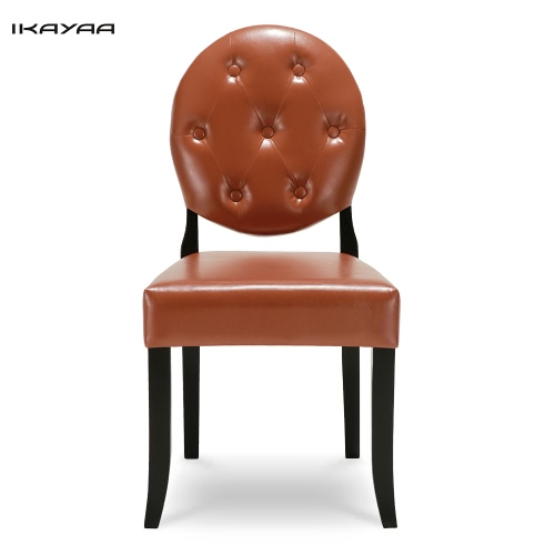 iKayaa Classic Antique Style Tufted Kitchen Dining Chair PU Leather Accent Chair Side Living Room Chair W/ Rubber Wood Leg