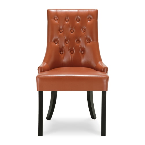 iKayaa Antique Style Scoop Back Tufted Kitchen Dining Chair PU Leather Padded Accent Chair Side Living Room Chair W/ Rubber Wood Legs