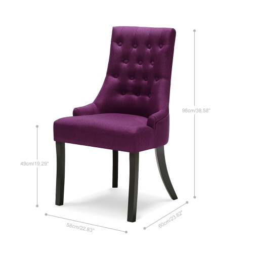 iKayaa Classic Style Scoop Back Tufted Kitchen Dining Chair Linen Fabric Padded Accent Chair Upholstered Side Living Room Chair W/ Rubber Wood Legs