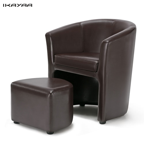 iKayaa Contemporary PU Leather Barrel Tub Chair Armchair with Ottoman Accent Club Chair Living Room Furniture W/ Rubber Wood Legs