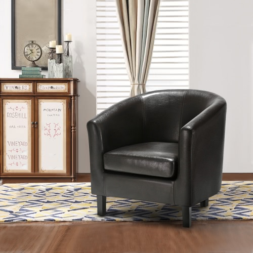 iKayaa PU Leather Armchair Sofa W/ Rubber Wood Legs