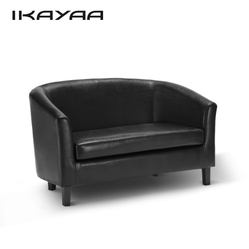 IKAYAA Contemporary Tub-shaped PU Leather 2 Seat Sofa Love Seat Couch Double Sofa Living Room Lounge Furniture W/ Rubber Wood Legs