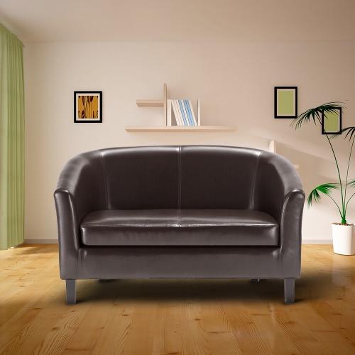 IKayaa Sofá moderno en forma de tubo de cuero de Loveseat de la PU