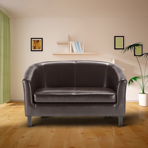 iKayaa Contemporary Tub-shaped PU Leather Loveseat Sofa